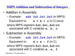 mips addition and subtraction of integers