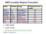 mips assembler register convention
