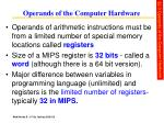 operands of the computer hardware