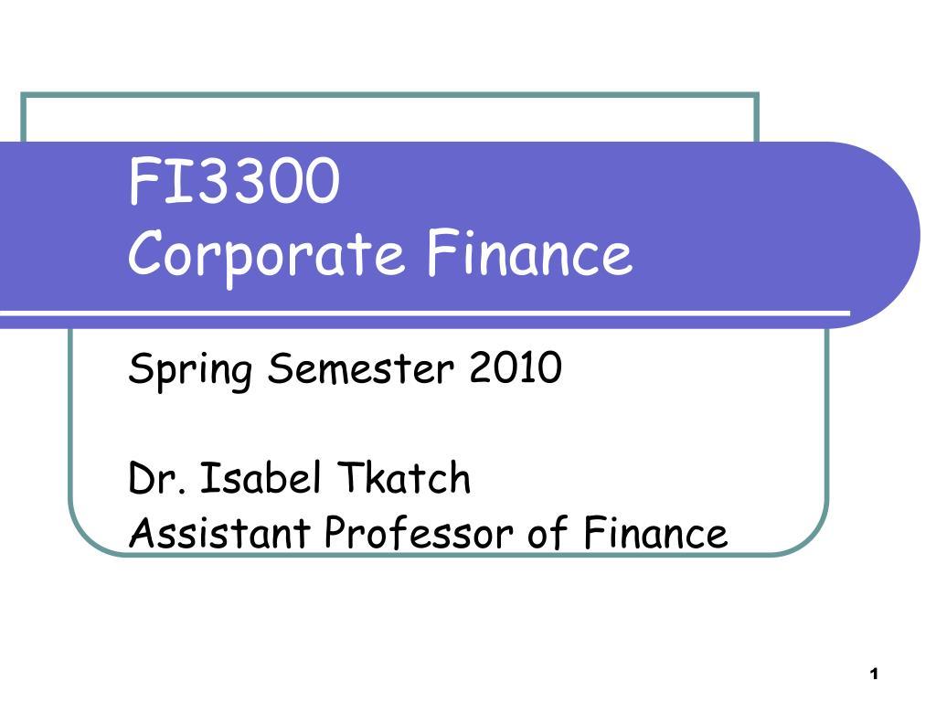fi3300 corporate finance l.
