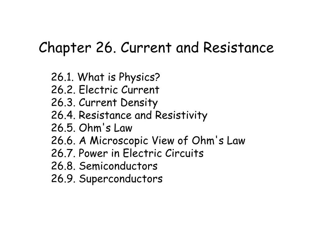 chapter 26 current and resistance l.