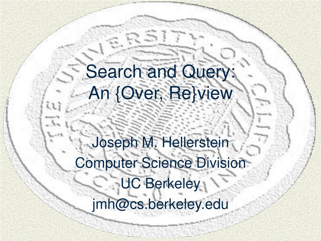 search and query an over re view l.