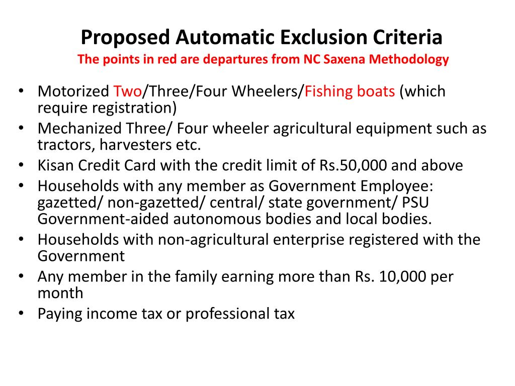 Proposed Automatic Exclusion