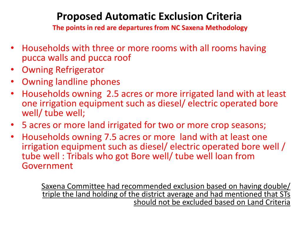 Proposed Automatic Exclusion Criteria