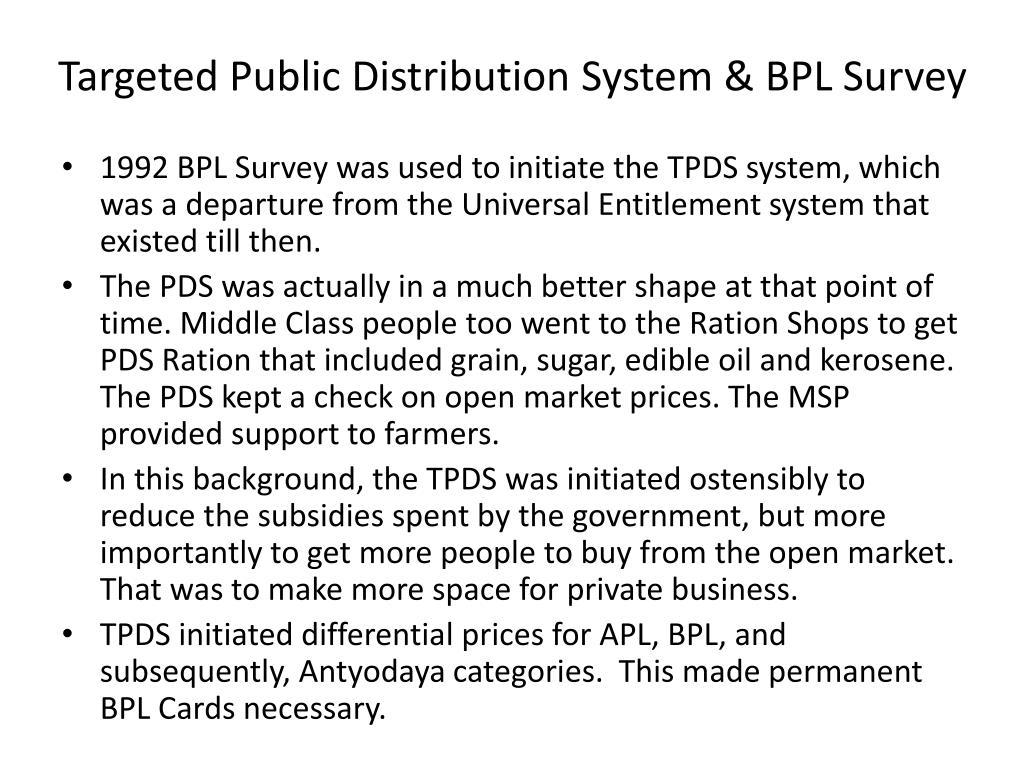 Targeted Public Distribution System & BPL Survey