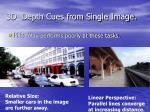 3d depth cues from single image