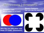 tasks involving 3 dimensions