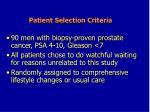 patient selection criteria