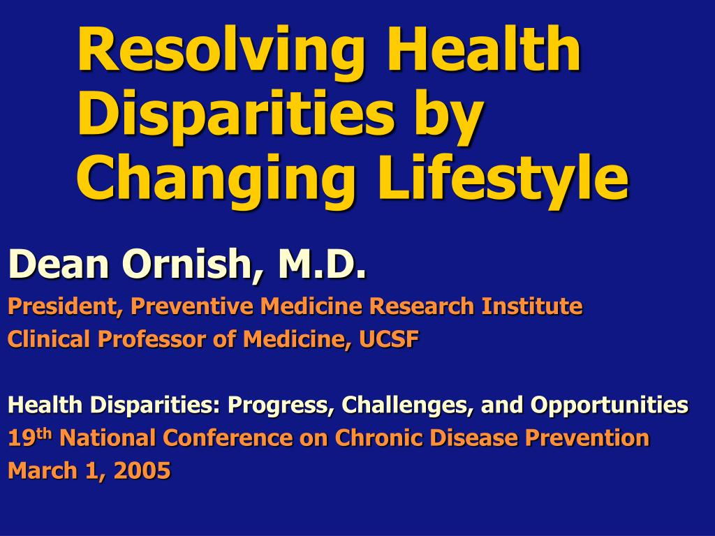resolving health disparities by changing lifestyle l.