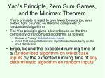 yao s principle zero sum games and the minimax theorem