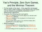 yao s principle zero sum games and the minimax theorem29