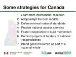some strategies for canada