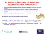 classifica o geral de amostras biol gicas para transporte