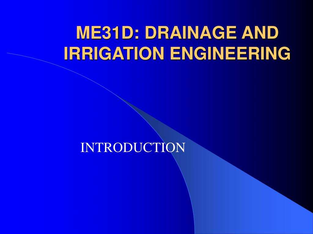 me31d drainage and irrigation engineering l.