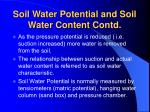 soil water potential and soil water content contd