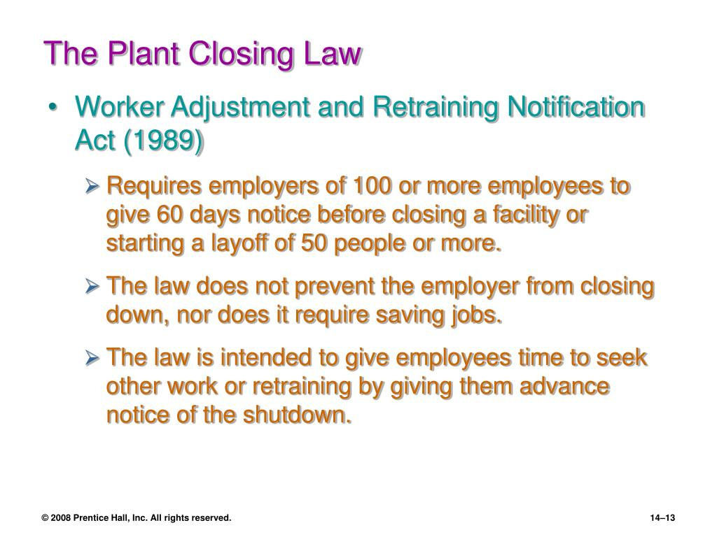 The Plant Closing Law