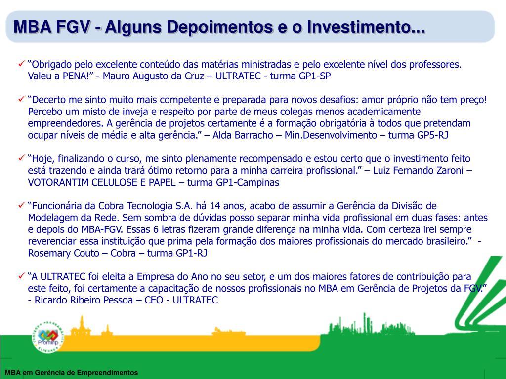 MBA FGV - Alguns Depoimentos