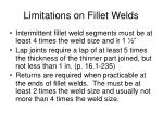 limitations on fillet welds20
