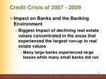 credit crisis of 2007 20096