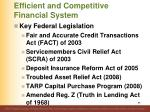 efficient and competitive financial system88