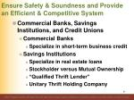ensure safety soundness and provide an efficient competitive system57