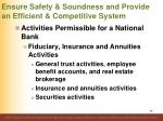 ensure safety soundness and provide an efficient competitive system69