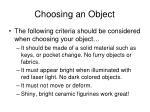 choosing an object