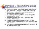 portfolio 1 recommendations