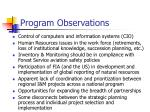 program observations