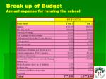 break up of budget annual expense for running the school