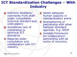 ict standardization challenges with industry