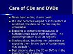 care of cds and dvds