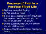 purpose of pain in a purpose filled life