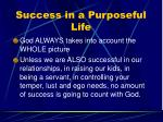 success in a purposeful life