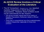 an acce review involves a critical evaluation of the literature
