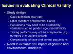 issues in evaluating clinical validity