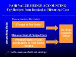 fair value hedge accounting for hedged item booked at historical cost