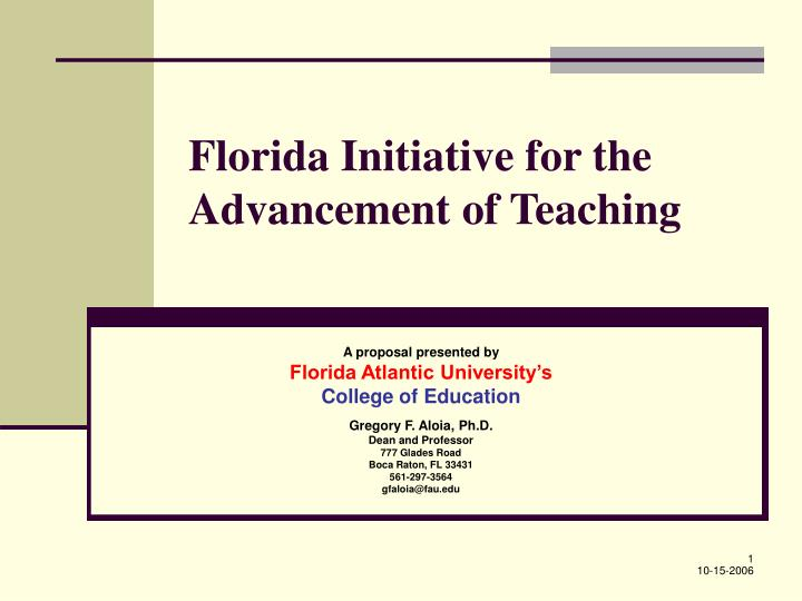 florida initiative for the advancement of teaching n.