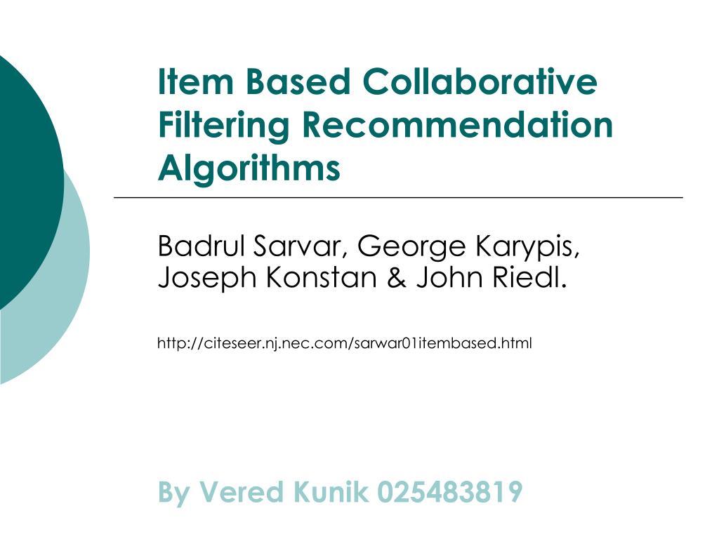 item based collaborative filtering recommendation algorithms l.