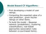 model based cf algorithms