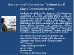 academy of information technology mass communications