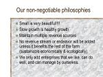our non negotiable philosophies