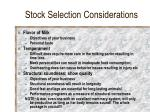 stock selection considerations14