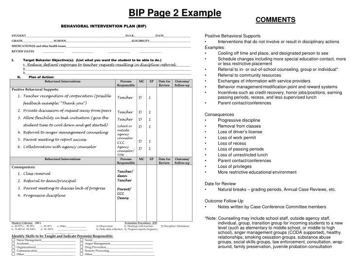 behavior intervention plan examples