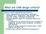 what are cam design criteria
