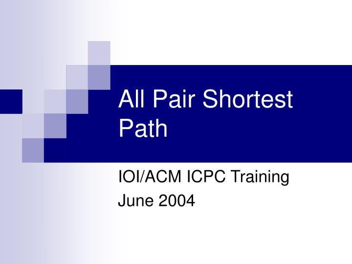 all pair shortest path n.