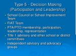 type 5 decision making participation and leadership