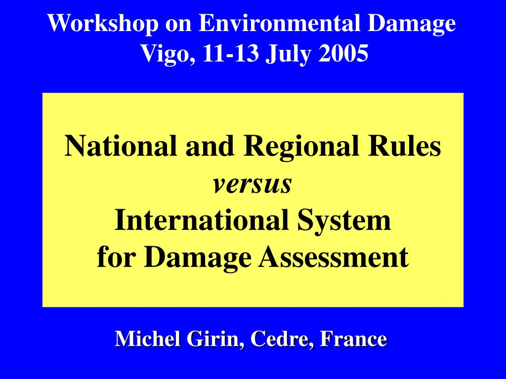 national and regional rules versus international system for damage assessment l.