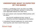 understand what is expected of the banks9