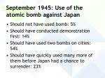 september 1945 use of the atomic bomb against japan